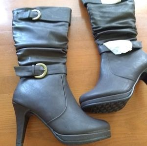 Forever Chocolate Knee High Heeled Boots NWT